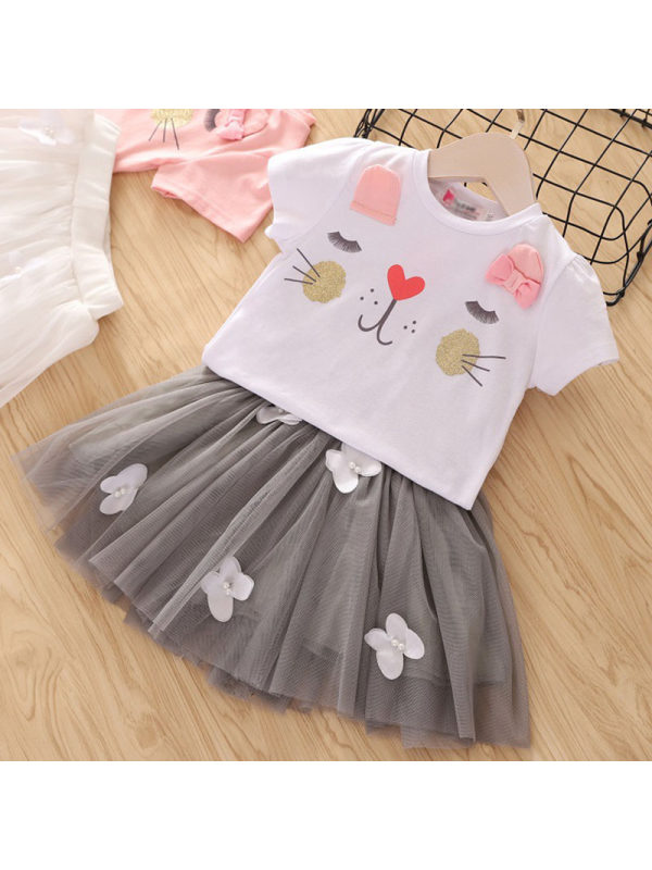 【2Y-9Y】Girl Cat Print Top Skirt Two-piece Sets