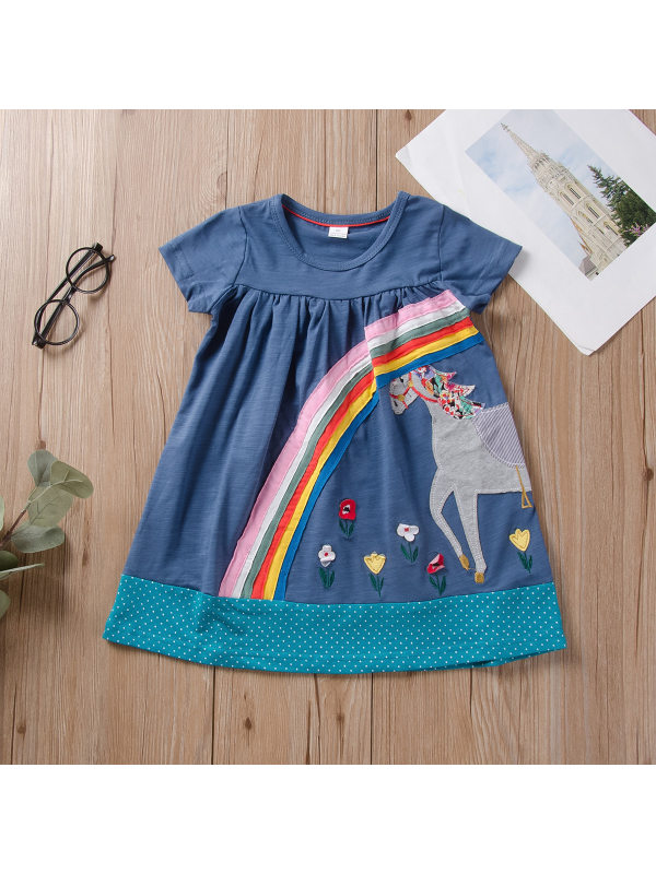 【18M-7Y】Girls Fashion Casual Rainbow Patch Short Sleeve Dress