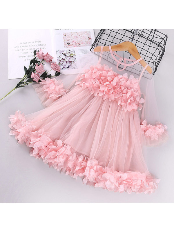 【12M-5Y】Girls' Mesh Lace Cute Princess Dress
