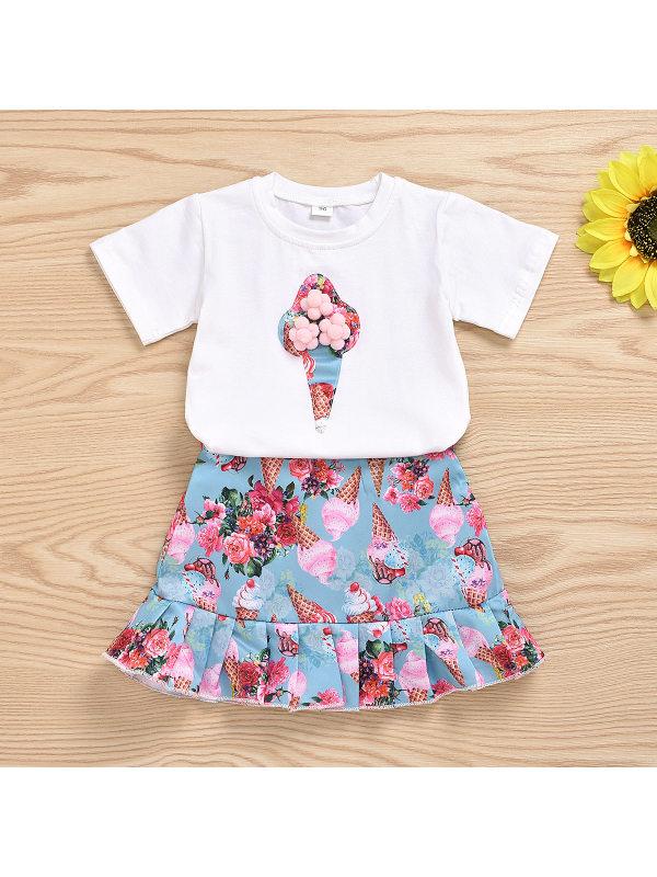 【18M-7Y】Girl Ice Cream Print Short-sleeved Mermaid Skirt Two-piece Suit