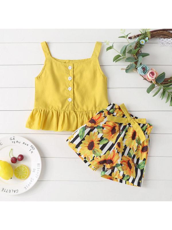【6M-3Y】Girls Fresh Sweet Camisole Top Sunflower Print Shorts Set