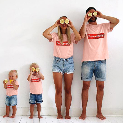 Family Letter Print Casual Matching T Shirt