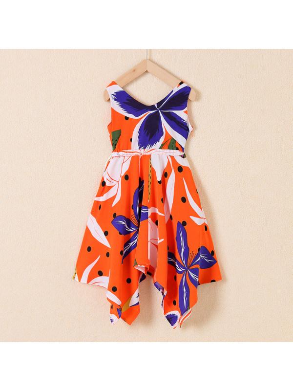 【18M-7Y】Sweet Flower Print V-neck Sleeveless Orange Dress
