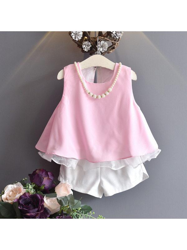 【2Y-9Y】Girl Chiffon Vest Shorts Set