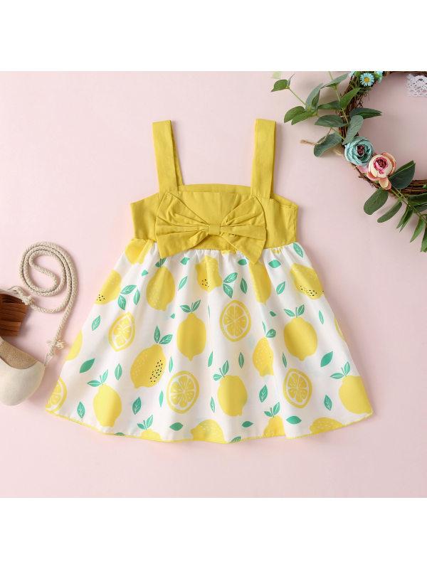 【6M-3Y】Girls Fresh Sweet Bowknot Fruit Print Camisole Dress