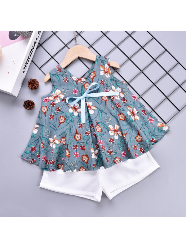 【18M-7Y】Girls Flower Print Loose Tank Top and White Shorts Set