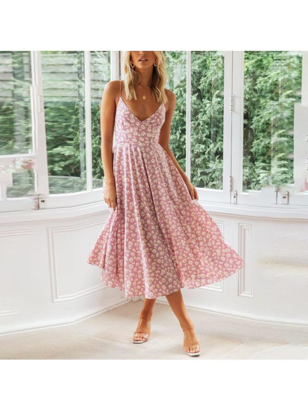 Sexy V-neck strapless printed midi dress
