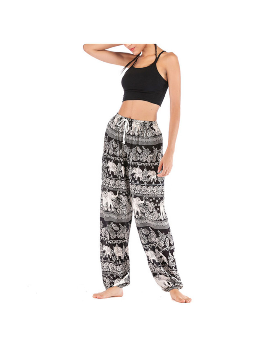Image of Casual Loose Printed Bloomers Loose Pilate Yoga Pants