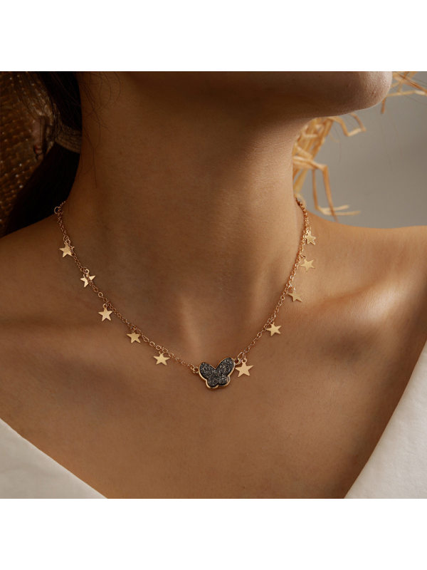 Metal Three-Dimensional Recklace Accessories Butterfly Element Clavicle Chain
