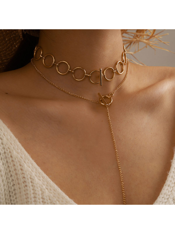 Long one word buckle circle necklace female trendy clavicle chain