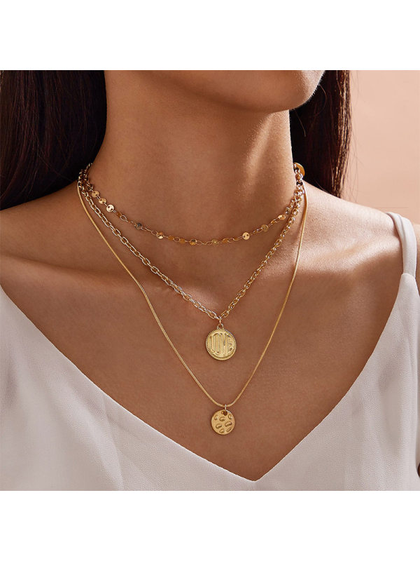 LOVE medal pendant chain multi-layer necklace