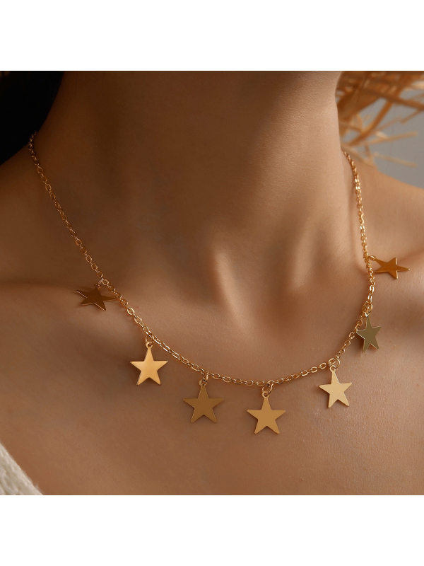 Fashionable simple temperament five-pointed star pendant necklace clavicle chain