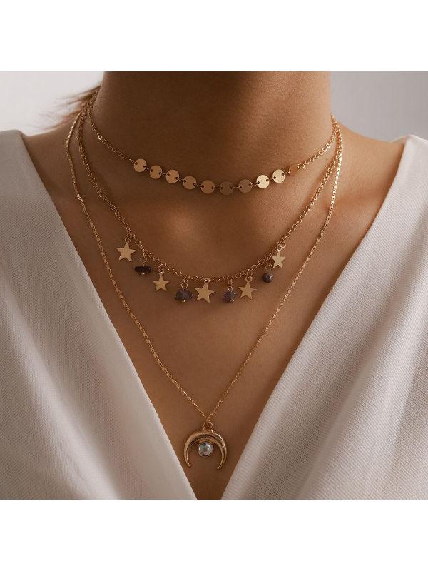 Geometric sequins gravel moon pendant 3-layer necklace