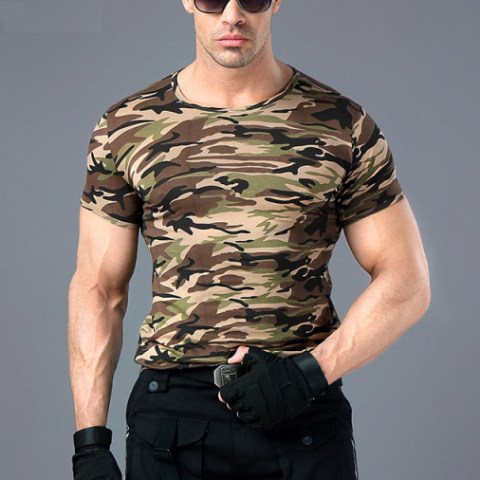 Wild Survival Army Fan Jungle Camouflage Stretch Tight T-shirt