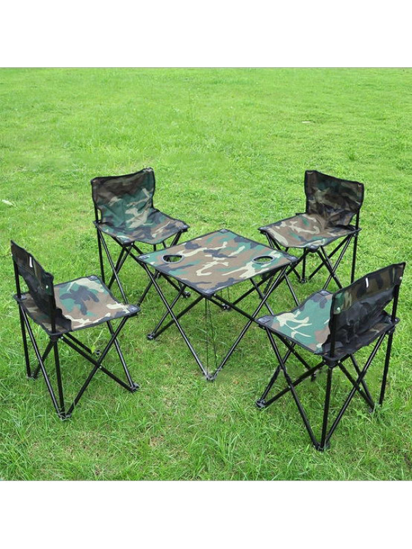 5 Piece Outdoor Portable Backpack Foldable Table And Chairs