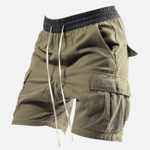 Mens Outdoor Sports Waist Elastic Drawstring Shorts