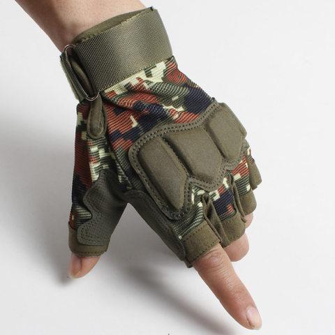 Mens outdoor tactical anti-cut half-finger gloves