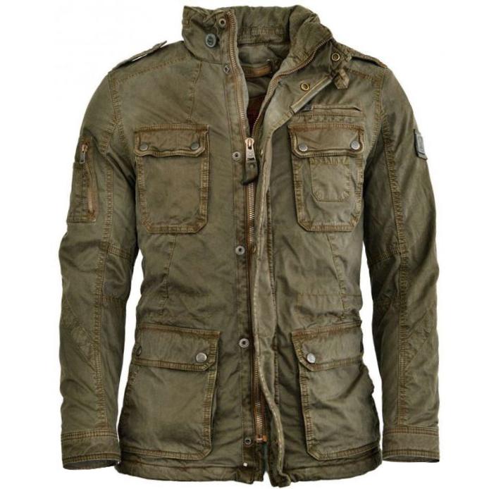мужская уличная куртка с эффектом потертости