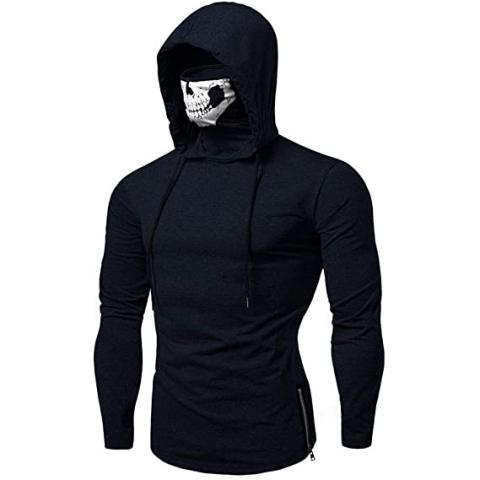 Mens Fitness Skull Mask Printed Long Sleeve Hoodie T-shirt