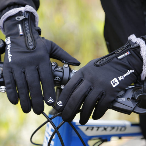Outdoor warm and water-repellent riding touch screen gloves