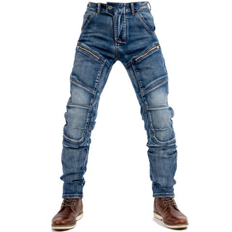 Mens Retro Motorcycle Stitching Denim Trousers