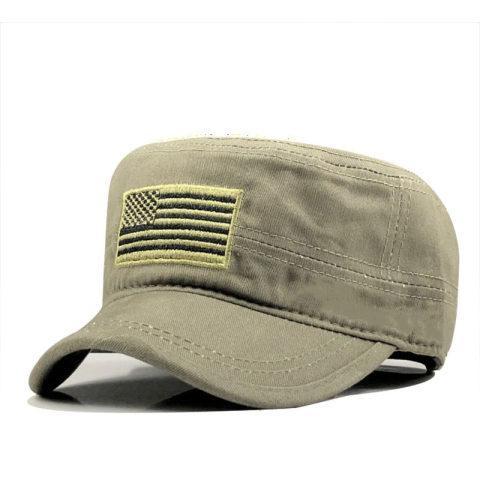 Men's outdoor sports cotton flat top military hat sunshade cap