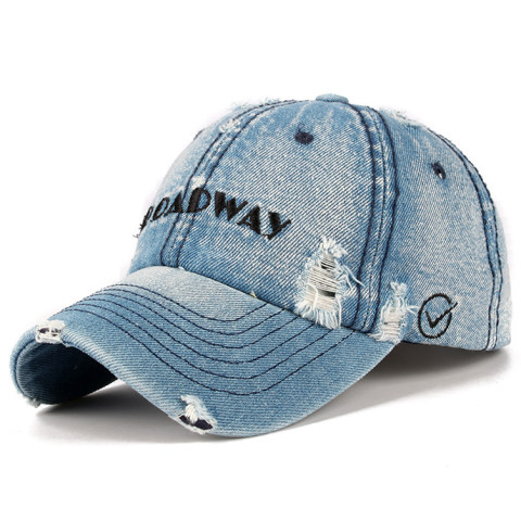 Men's outdoor leisure ripped embroidered denim cap