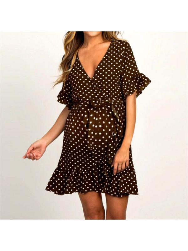 Maternity Short Sleeve Polka Dot Mini Dress