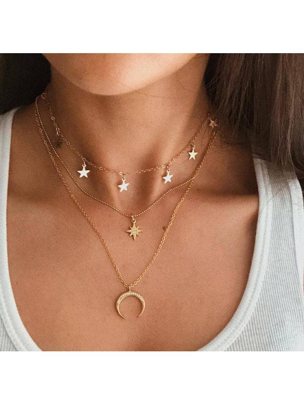 Pentagram octagonal crescent three-layer necklace