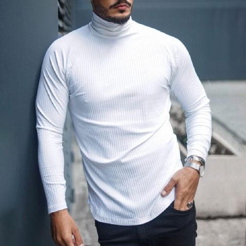 High neck pure white fashion slim knitted T shirt