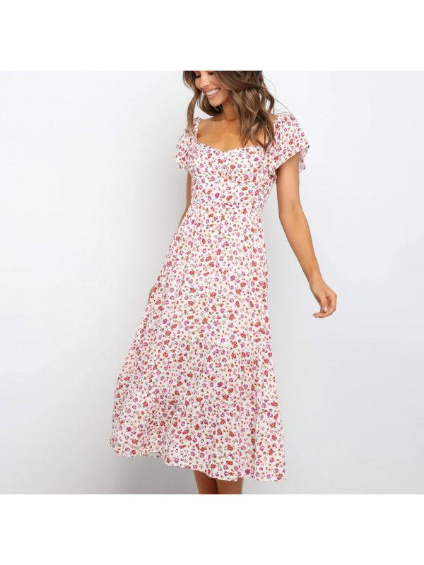Fresh flower print big swing short sleeve midi dress