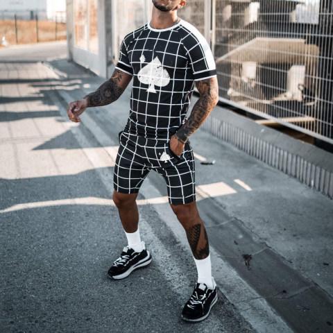 Mens black plaid print suit