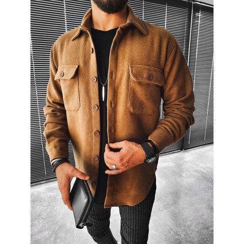 Casual fashion solid color pocket long sleeve shirt jacket