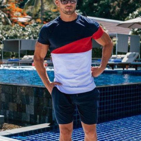 Mens casual round neck short sleeve sports suit