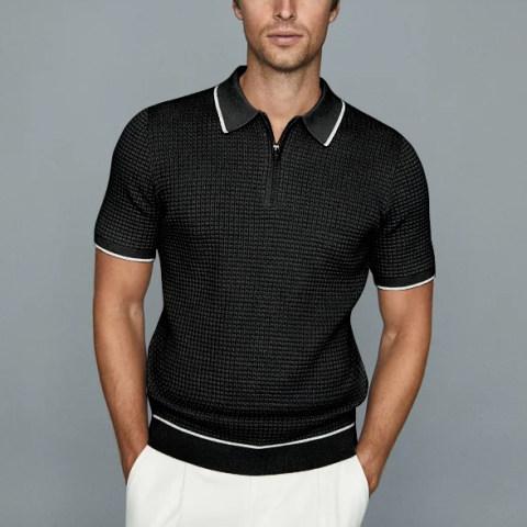 Mens fashion solid color polo shirt