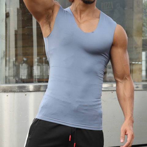 No trace ice silk fitness sleeveless running sports slim bottoming shirt