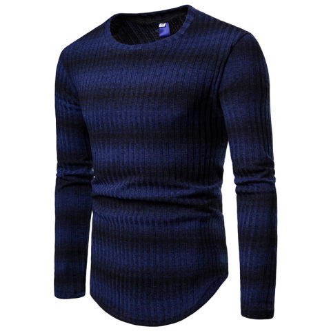 MenS Striped Gradient Round Neck Thick Sweater