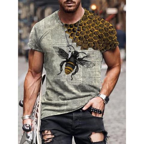 Designer Newspaper Art Bee Print T-shirt