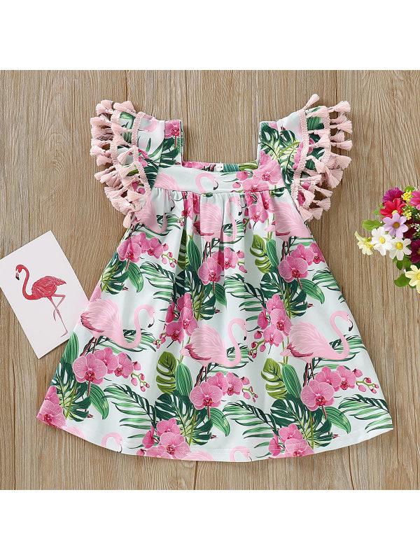 【6M-3Y】Flamingo Print Fringed Sleeve Dress