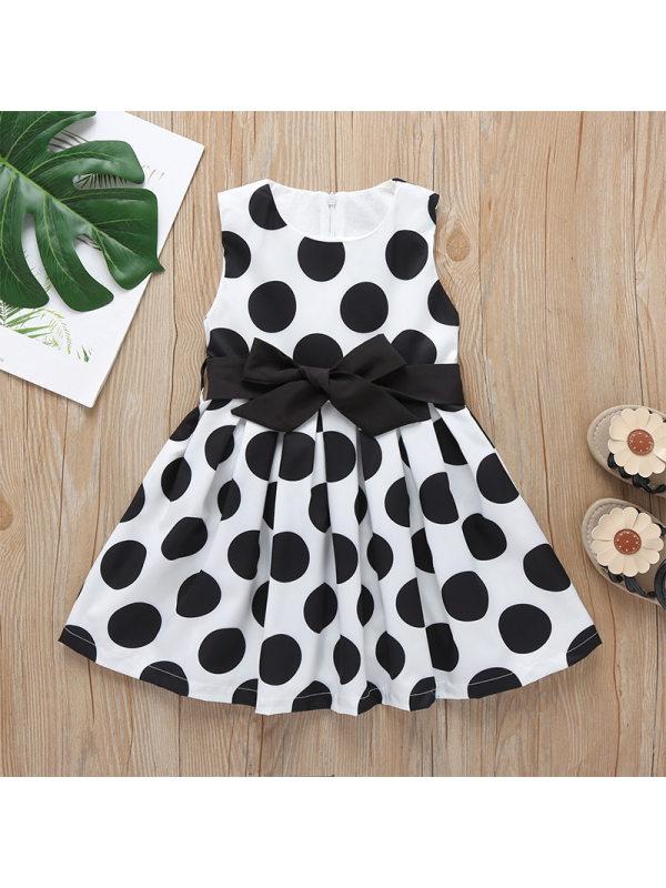【12M-5Y】Girls Sweet Cute Polka Dot Bow Sleeveless Dress
