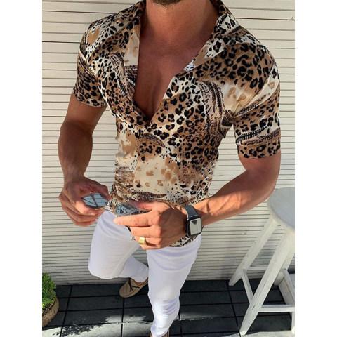 Casual Print Leopard Short Sleeve Shirt