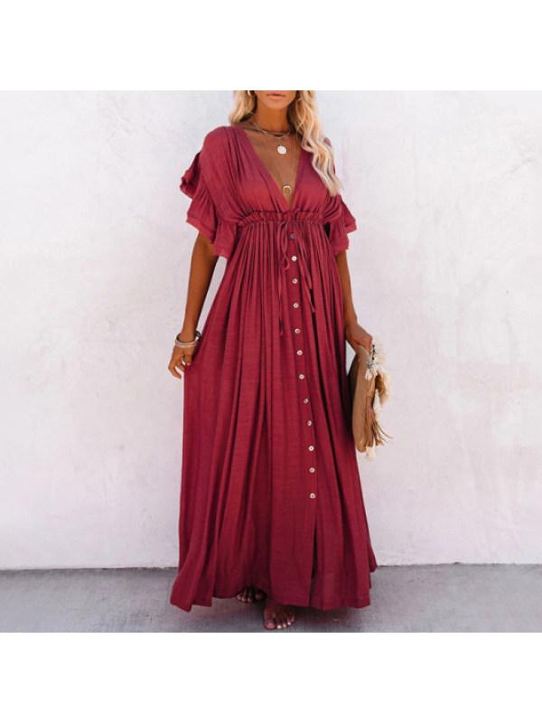 Maternity Fashion solid short sleeve V-neck dress