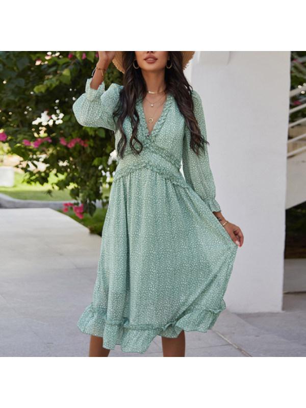Maternity Fashion V-neck simple print dress