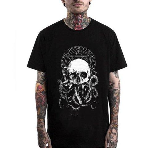Men Punk Street Printed Short Sleeved T-shirts 04207
