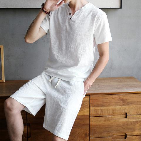 Mens linen short sleeved shorts suit