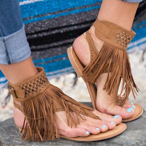 Bohemian Flat Velvet Ankle Strap Peep Toe Casual Gladiator Socofy Sandals
