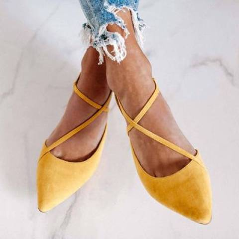 Womens fashion pointed low heel shoes
