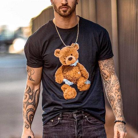 Round Neck Short Sleeve Bear T shirt