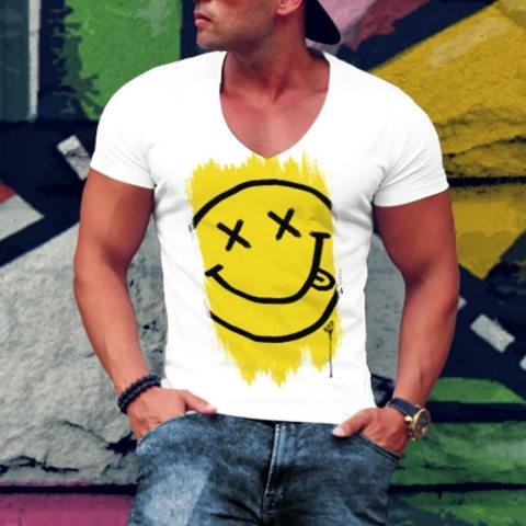 Men V Neck Short Sleeve Face T shirt