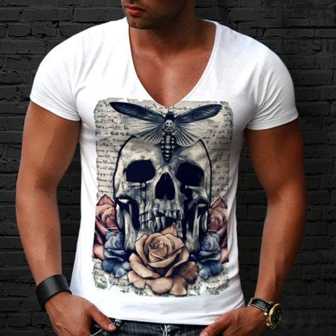 V Neck Short Sleeve Skull Picture T shirt